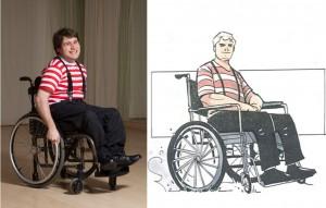 """Disabili DOC – L'Arte nel Cuore, fumetto """"Four Energy Heroes"""": Tiziano as Pietro"""