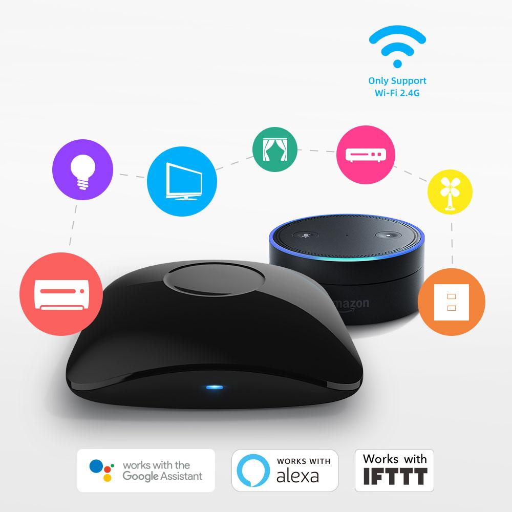 Disabili DOC – BroadLink RM4 Pro, vista d'insieme, immagine spot che evidenzia il funzionamento con Google Assistant, Alexa ed IFTTT