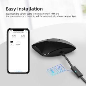 Disabili DOC – BroadLink RM4 Pro, vista d'insieme, immagine spot che evidenzia l'abbinamento con il cavo USB HTS2 Sensor Accessory per il rilevamento di temperatura e umidità