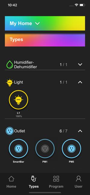 "Disabili DOC – VOCOlinc VP2, App ""VOCOlinc – LinkWise""; screen shot da iPhone: Types"