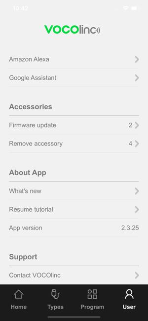 "Disabili DOC – VOCOlinc VP2, App ""VOCOlinc – LinkWise""; screen shot da iPhone: User"
