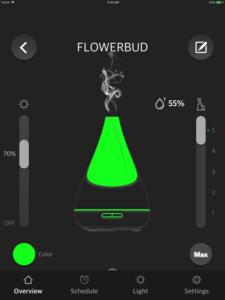 "Disabili DOC – VOCOlinc VP2, App ""VOCOlinc – LinkWise""; screen shot da iPad: Overview » Flowerbud"
