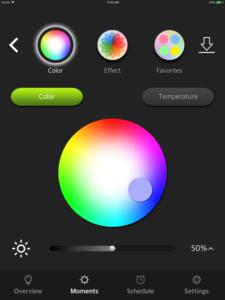 """Disabili DOC – VOCOlinc VP2, App """"VOCOlinc – LinkWise""""; screen shot da iPad: Moments » Color"""
