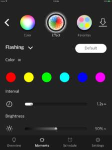 "Disabili DOC – VOCOlinc VP2, App ""VOCOlinc – LinkWise""; screen shot da iPad: Moments » Effect"