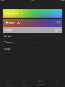 "Disabili DOC – VOCOlinc VP2, App ""VOCOlinc – LinkWise""; screen shot da iPad: Scenes per Scenes, Groups, Timers e Rules"