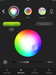 """Disabili DOC – VOCOlinc VP2, App """"VOCOlinc – LinkWise""""; screen shot da iPad: Moments modificati con l'aggiunta del bottone """"Edit"""""""