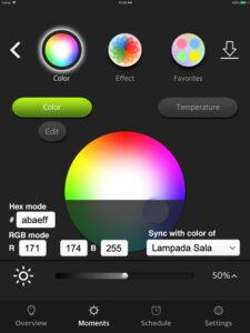 """Disabili DOC – VOCOlinc VP2, App """"VOCOlinc – LinkWise""""; screen shot da iPad: Moments modificati con l'aggiunta di un'area flottante contenente i campi per la gestione del colore"""