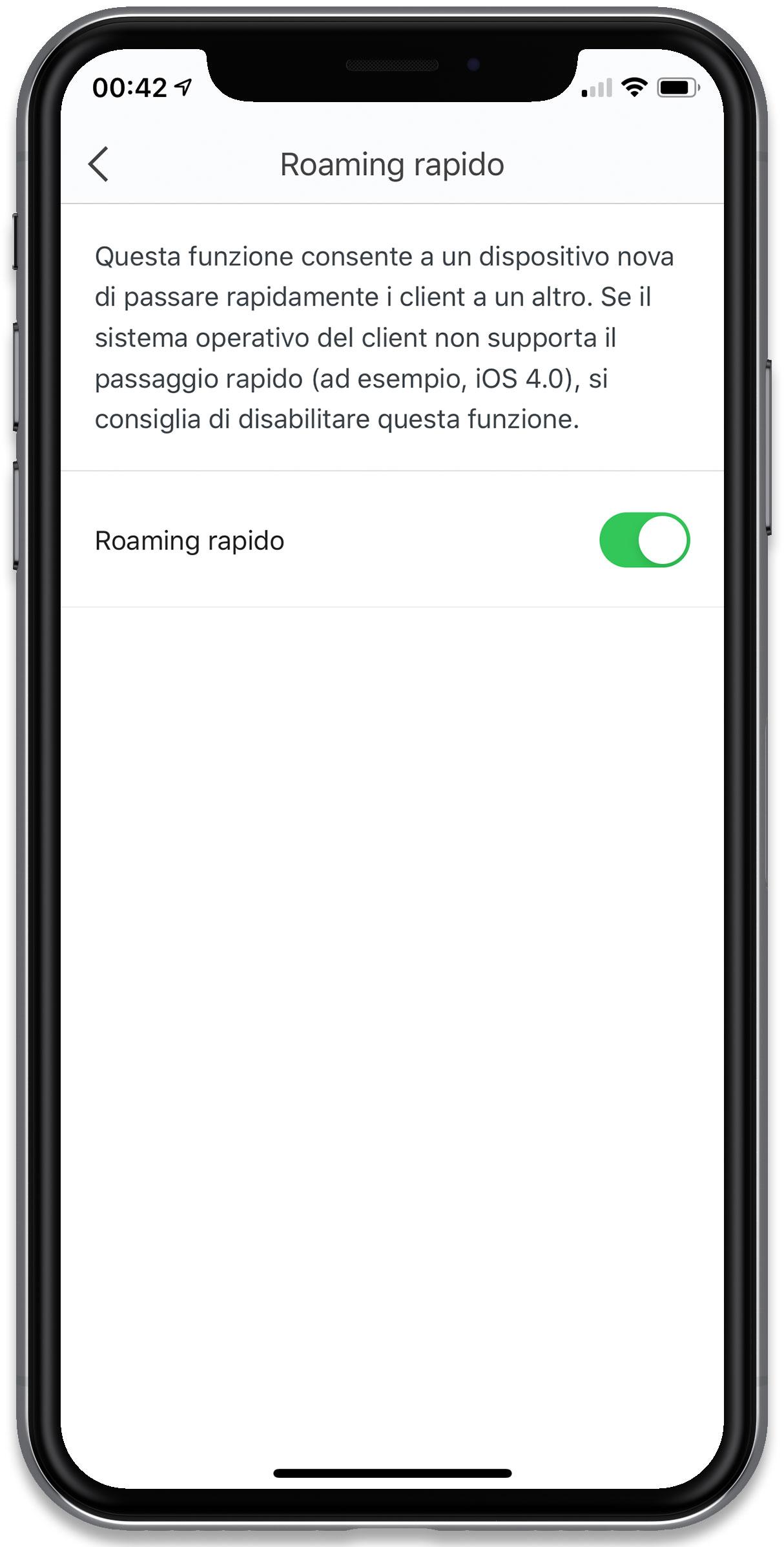 """Disabili DOC – """"Speciale Tenda Nova MW6"""" – L'immagine mostra la schermata """"Roaming rapido"""""""