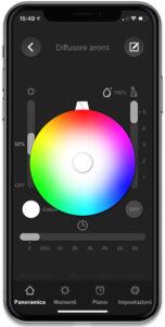 """Disabili DOC – """"Speciale VOCOlinc"""" FlowerBud – L'immagine mostra la schermata dell'App VOCOlinc preposta a gestire le diverse tonalità e intensità di luce gestibili tramite FlowerBud"""