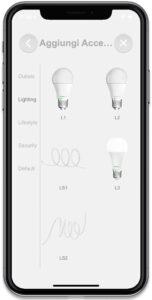 """Disabili DOC – """"Speciale VOCOlinc"""" luci smart – L'immagine mostra la schermata dell'App VOCOlinc in cui si sceglie il dispositivo da aggiungere"""