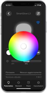 """Disabili DOC – """"Speciale VOCOlinc"""" luci smart – L'immagine mostra la schermata dell'App VOCOlinc preposta a gestire le diverse tonalità e intensità di luce gestibili tramite lampadine e strisce LED"""