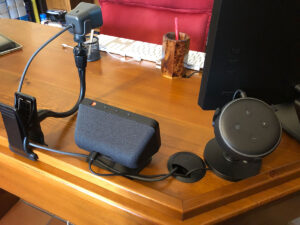 """Disabili DOC – D-Setup – 3ª versione – vista di un """"Echo set"""" che verrà presto rivisto tramite la ricollocazione dell'Echo Dot di 3ª generazione"""