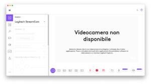 """Disabili DOC – """"Speciale Logitech StreamCam"""" – La schermata """"Logi Capture"""" mostra che la StreamCam non è disponibile"""