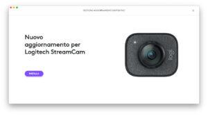 """Disabili DOC – """"Speciale Logitech StreamCam"""" – La schermata """"Logi Capture"""" mostra che è disponibile un aggiornamento"""