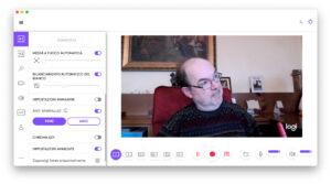 """Disabili DOC – """"Speciale Logitech StreamCam"""" – La schermata """"Logi Capture"""" mostra una anteprima immagine della prima fonte video e molti parametri per regolare la StreamCam, la maggior parte non è visibile a causa dell'altezza dello screen shot"""