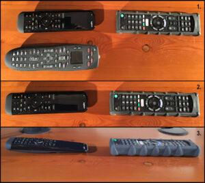 """Disabili DOC – """"Speciale Logitech Harmony Elite"""" – L'immagine mostra diverse visuali di tre telecomandi: uno Sony e due Logitech"""