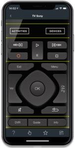 """Disabili DOC – """"Speciale Logitech Harmony Elite"""" – Su iPhone la App Harmony, l'immagine mostra alcune aree per l'inserimento di bottoni aggiuntivi, complementari, a quelli già presenti di serie, di default"""