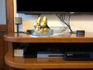 Disabili DOC – Mobile TV parte 1ª – Così si presentava il mobile TV prima della revisione dell'estate 2020, dettaglio dello switch HDMI di Lindy e della Apple TV di 3ª generazione