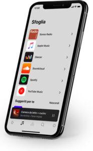 """Disabili DOC – """"Speciale Sonos Beam"""" – L'immagine mostra la App Sonos su smartphone, ma e anche disponibile per tablet e computer"""