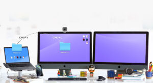 """Disabili DOC – """"Speciale Logitech MX Keys"""" – L'immagine mostra come la tastiera, se abbinata a più Mac, possa gestire anche il Copia & Incolla da un Mac all'altro"""