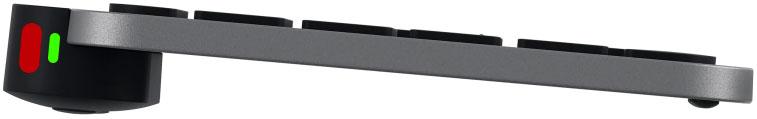 """Disabili DOC – """"Speciale Logitech MX Keys"""" – L'immagine mostra la tastiera vista di profilo e ipotizza l'inserimento di una USB A e una USB-C affinché i canali Bluetooth possano anche veicolare – su differenti device – periferiche come mouse e trackball"""