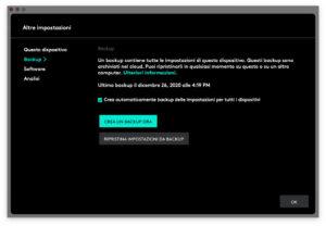 """Disabili DOC – """"Speciale Logitech MX Keys"""" – App Logi Options – L'immagine mostra la schermata di Logi Options dedicata al backup"""
