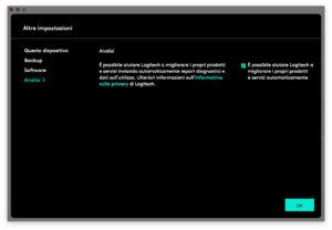 "Disabili DOC – ""Speciale Logitech MX Keys"" – App Logi Options – L'immagine mostra la schermata di Logi Options dedicata all'analisi"