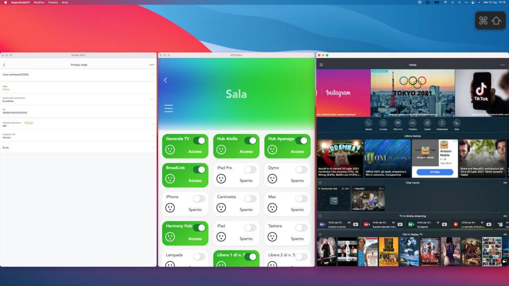 """Disabili DOC – L'immagine mostra il monitor 32"""" abbinato al Mac mini M1 del 2020 mentre sono aperte le App Tenda WiFi, VOCOlinc e SuperGuidaTV"""
