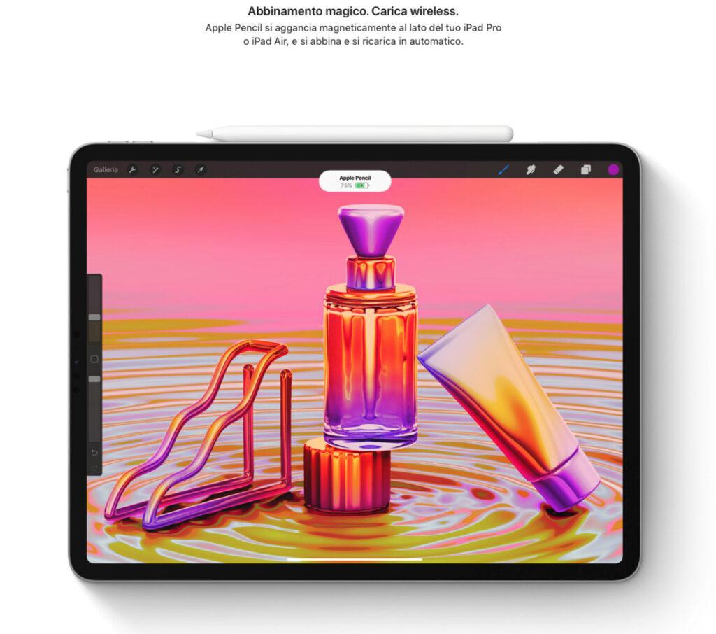 Disabili DOC – L'immagine mostra Apple Pencil abbinata all'iPad che ne rileva il livello della batteria