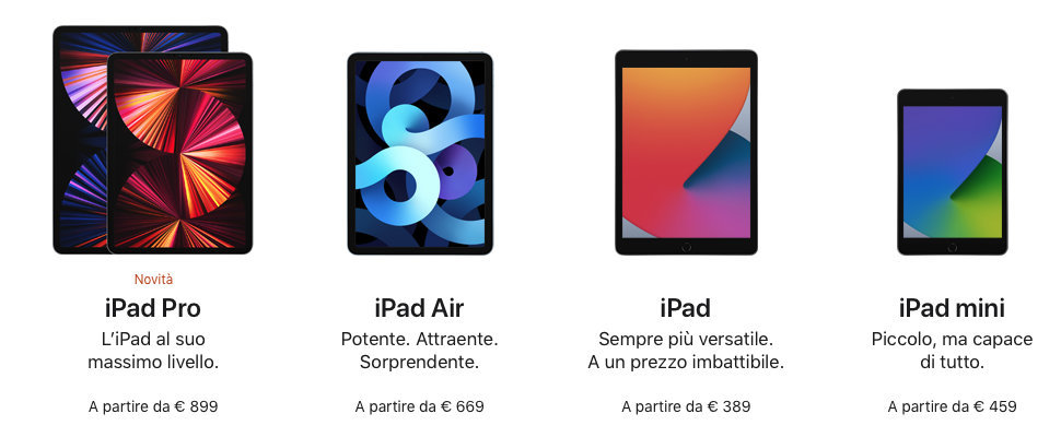 Disabili DOC – L'immagine mostra l'attuale gamma degli iPad con i relativi prezzi base