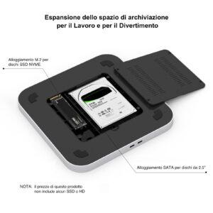 Disabili DOC – L'immagine mostra la parte inferiore dell'UH25 Pro mettendo in evidenza gli alloggiamenti per l'SSD e per l'HD